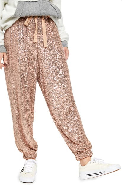 Free People Pants NIGHT MOVES SEQUIN JOGGER PANTS