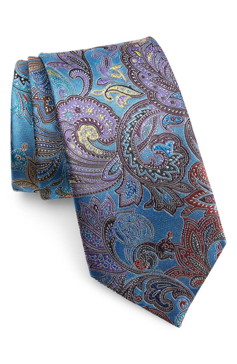 ERMENEGILDO ZEGNA Quindici Paisley Silk Tie, Main, color, TEAL