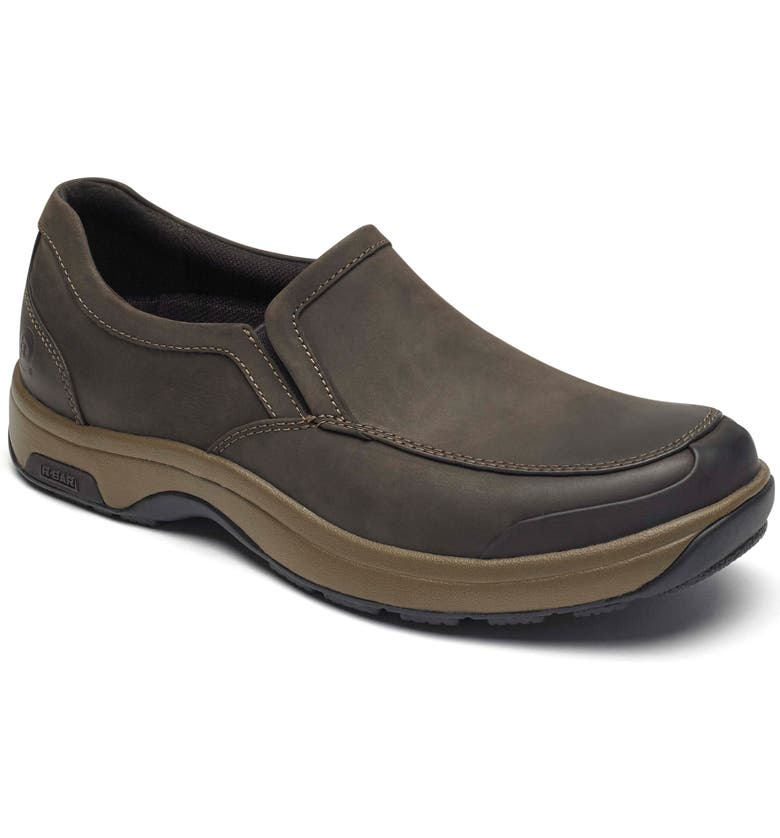 DUNHAM Battery Park Waterproof Slip-On, Main, color, BROWN LEATHER