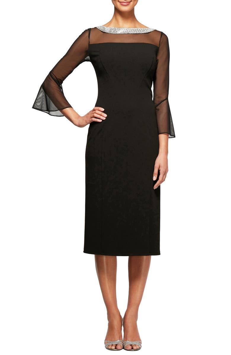 ALEX EVENINGS Embellished Shift Dress, Main, color, BLACK