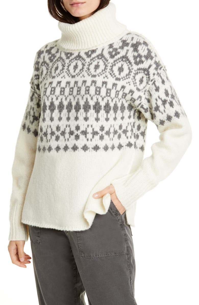 NSF CLOTHING Cher Nordic Turtleneck Sweater, Main, color, IVORY/ BLACK