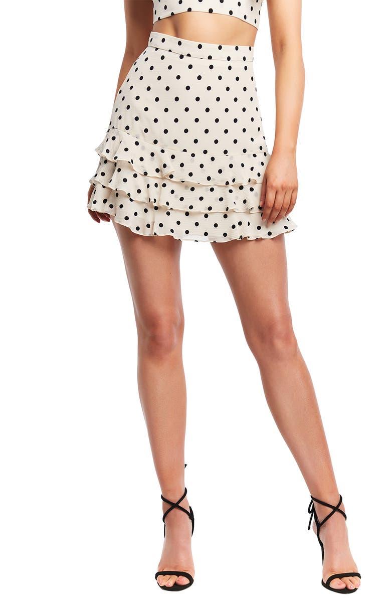 BARDOT Rah Rah Spot Miniskirt, Main, color, OXFORD SPOT