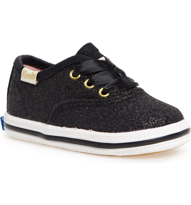 KEDS<SUP>®</SUP> x kate spade new york Champion Glitter Crib Shoe, Main, color, BLACK