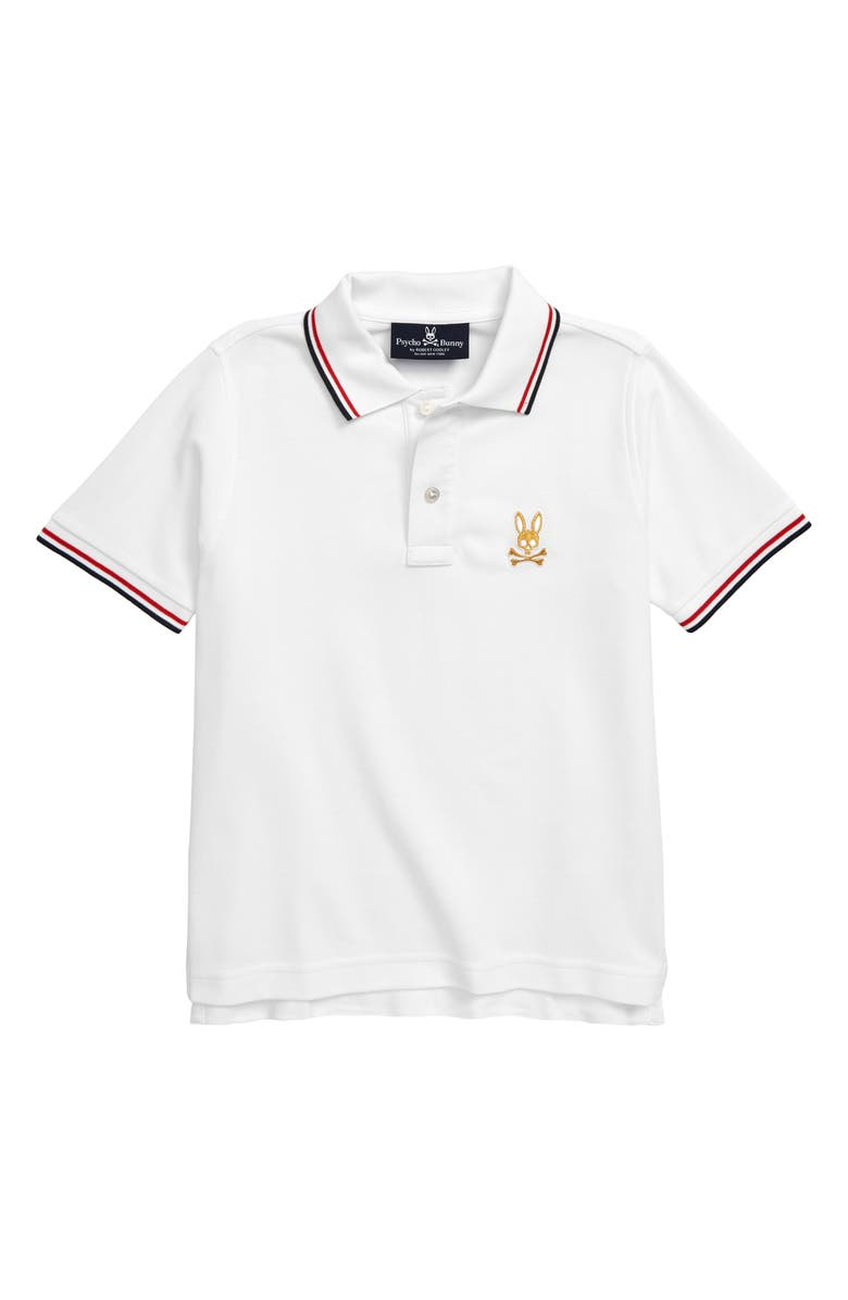 PSYCHO BUNNY St Lucia Tipped Piqué Polo, Main, color, WHITE