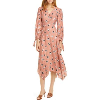 Rebecca Taylor Paintbrush Long Sleeve Silk Blend Dress, Pink