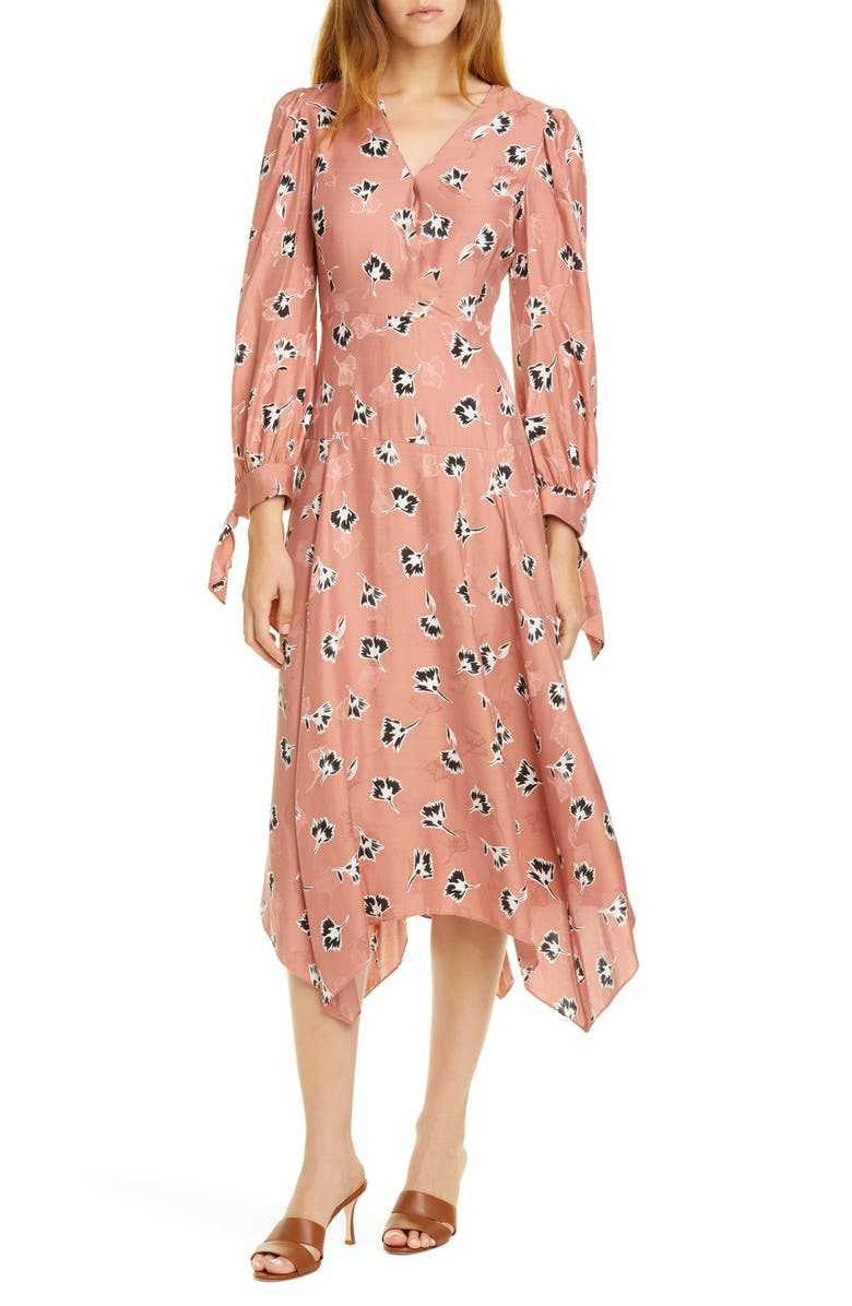 REBECCA TAYLOR Paintbrush Long Sleeve Silk Blend Dress, Main, color, BLUSH COMBO
