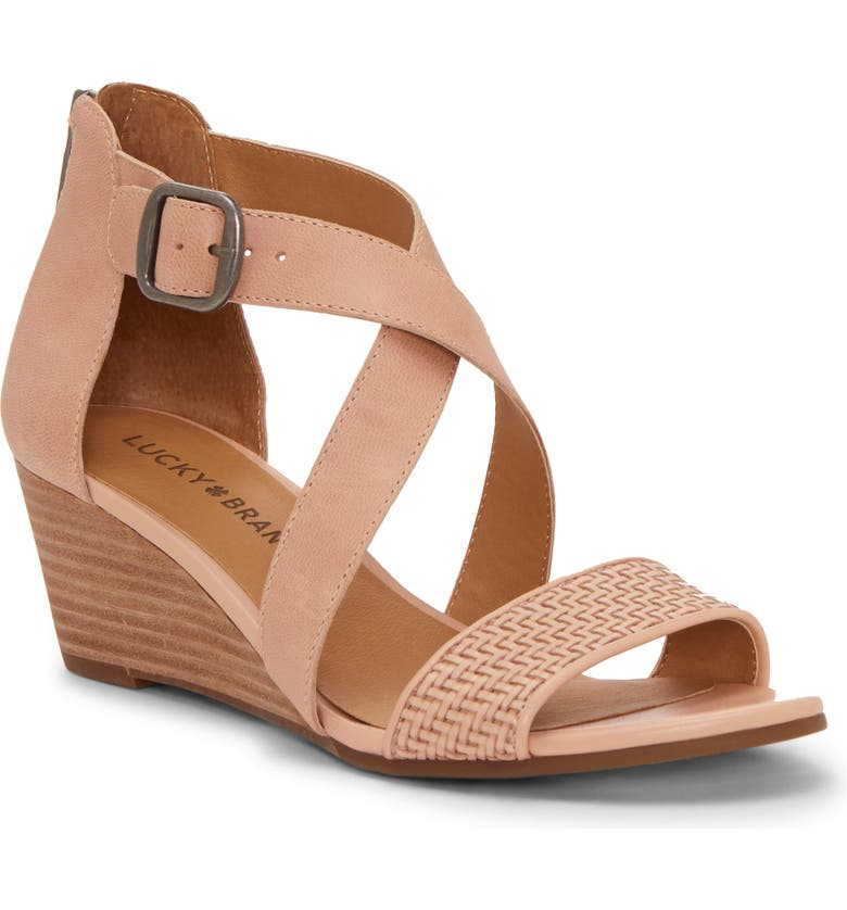 LUCKY BRAND Jestah Wedge Sandal, Main, color, MAPLE SUGAR LEATHER