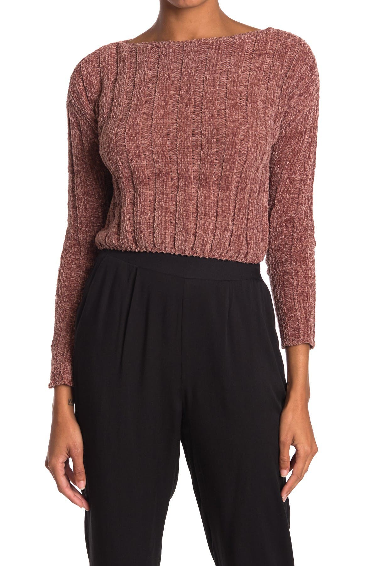 Image of HYFVE Chenille Boxy Ribbed Cropped Sweater