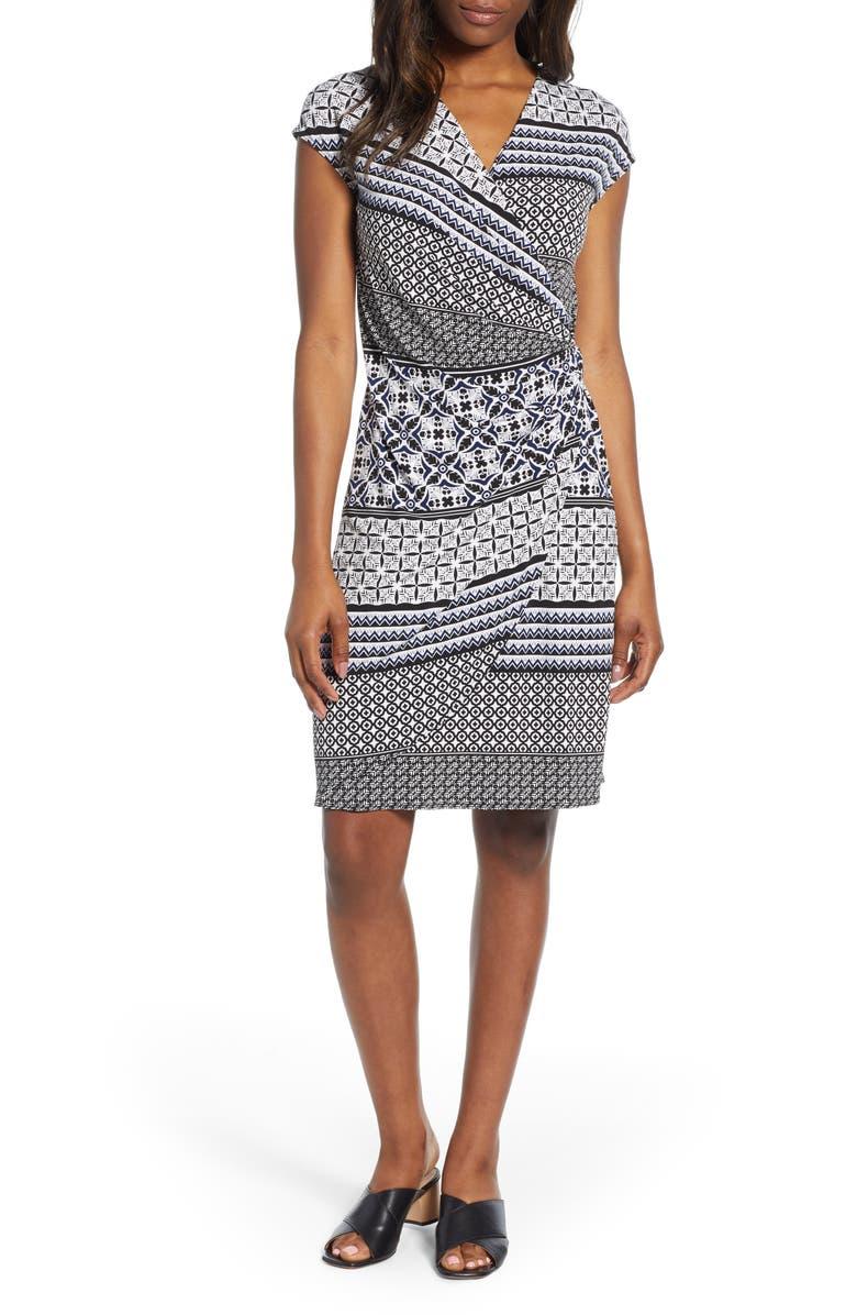 TOMMY BAHAMA Tropical Terrazza Faux Wrap Dress, Main, color, 001