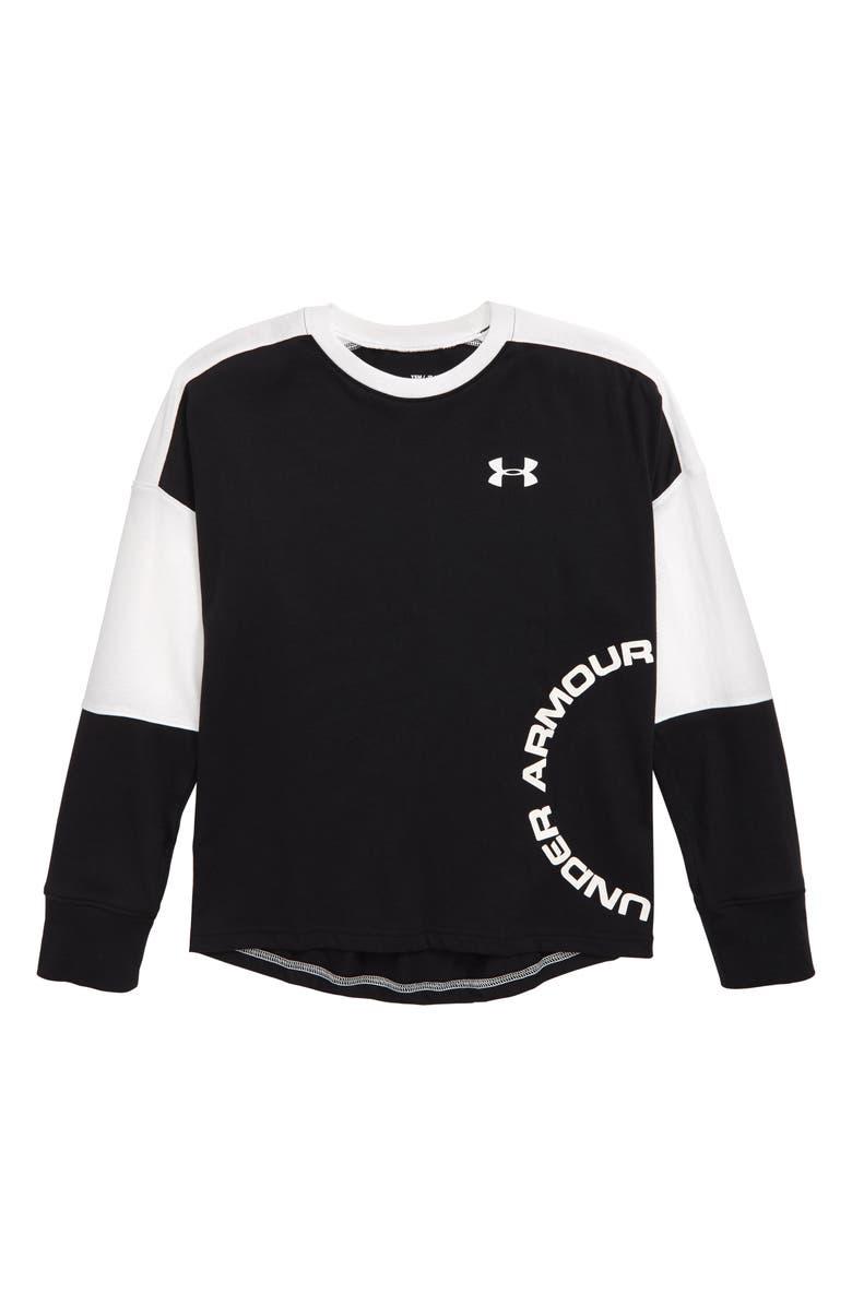 UNDER ARMOUR Sportstyle HeatGear<sup>®</sup> Colorblock T-Shirt, Main, color, BLACK/ WHITE