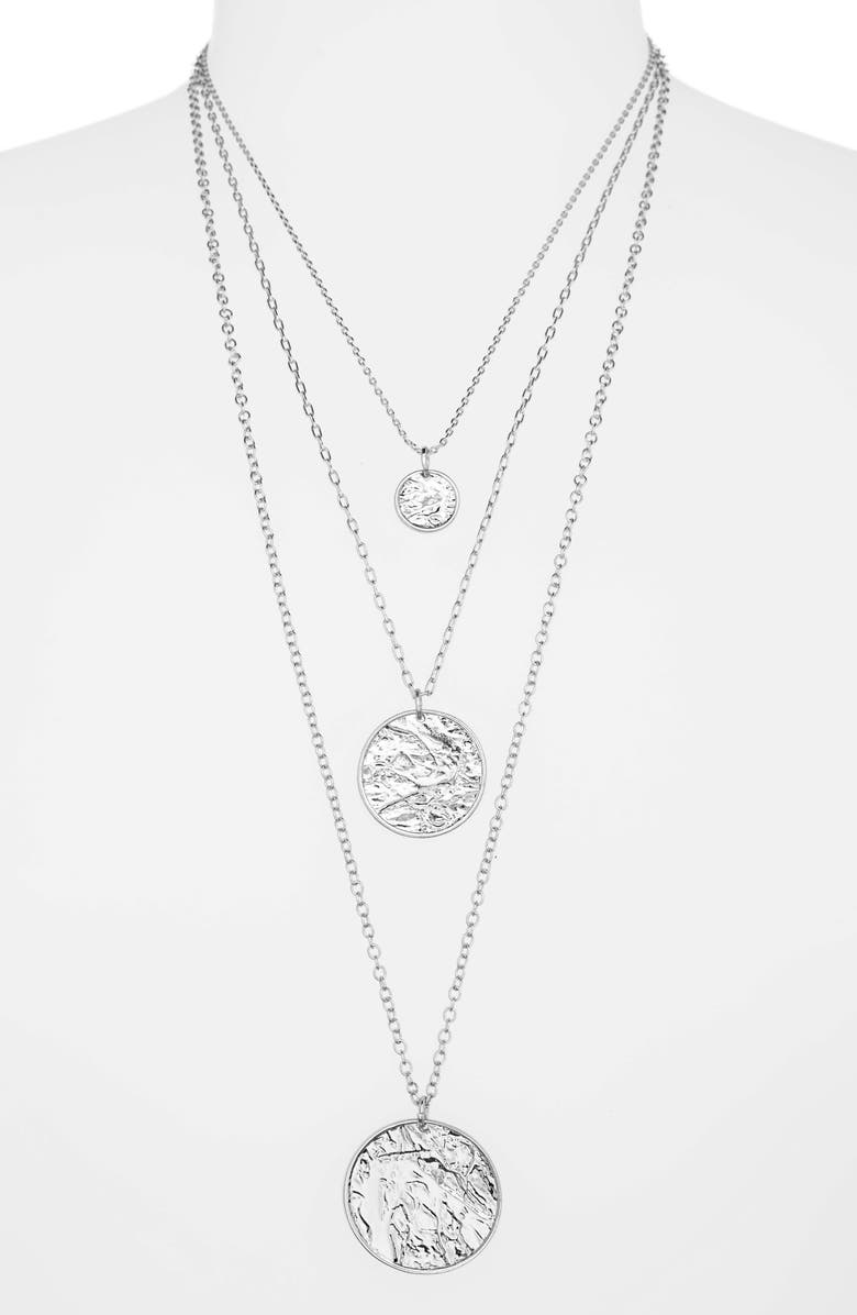 BP. Layered Pendant Necklace, Main, color, RHODIUM
