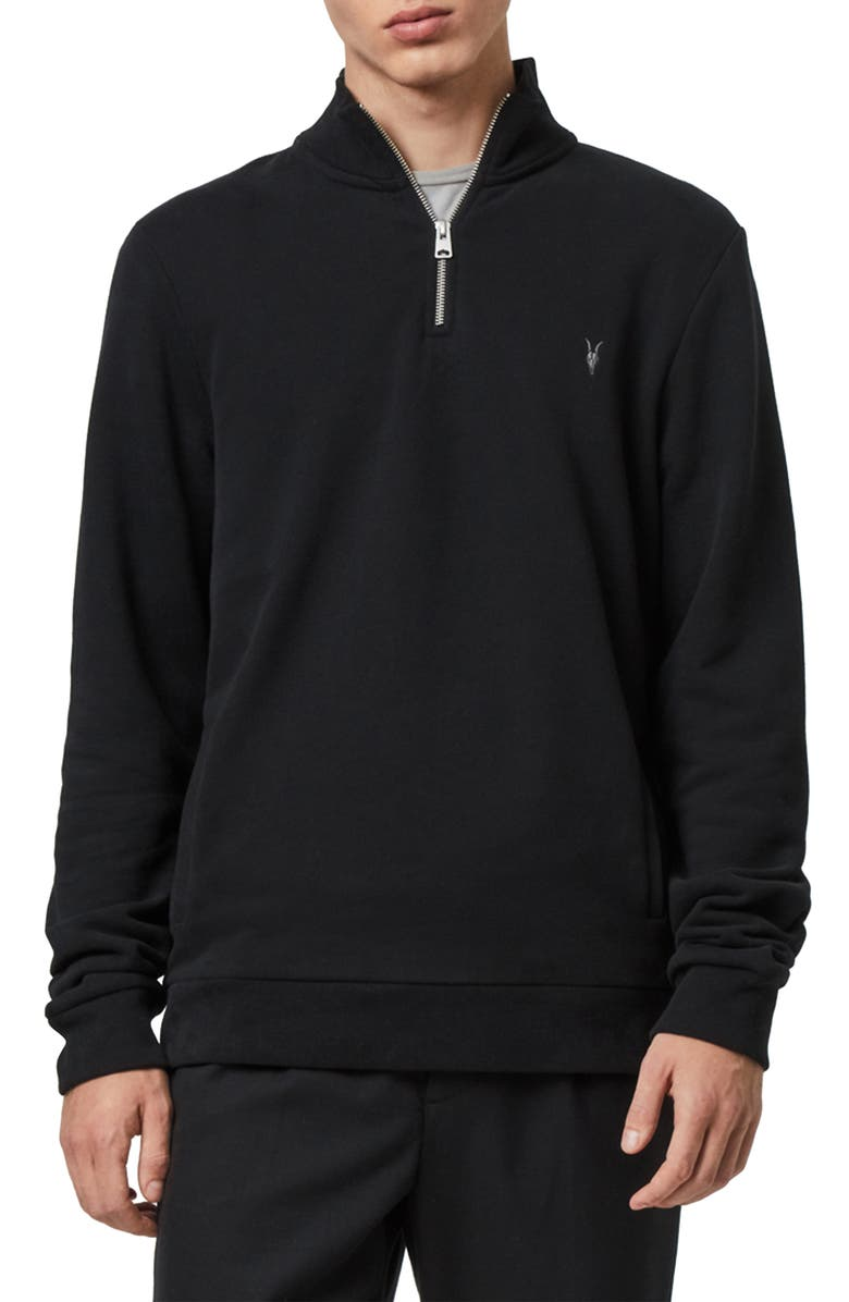 ALLSAINTS Raven Quarter Zip Pullover, Main, color, 003
