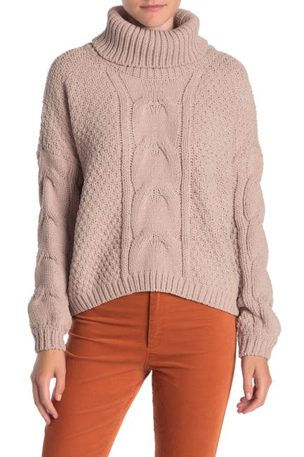 Image of SWEET RAIN Cable Knit Turtleneck Dolman Sweater