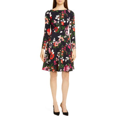 Lela Rose Floral Long Sleeve Wool Blend Dress, Pink
