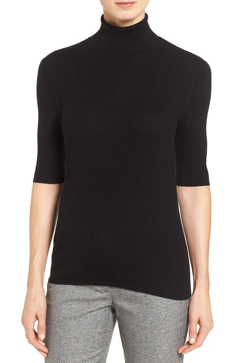 CLASSIQUES ENTIER<SUP>®</SUP> Ribbed Elbow Sleeve Turtleneck, Main, color, 001