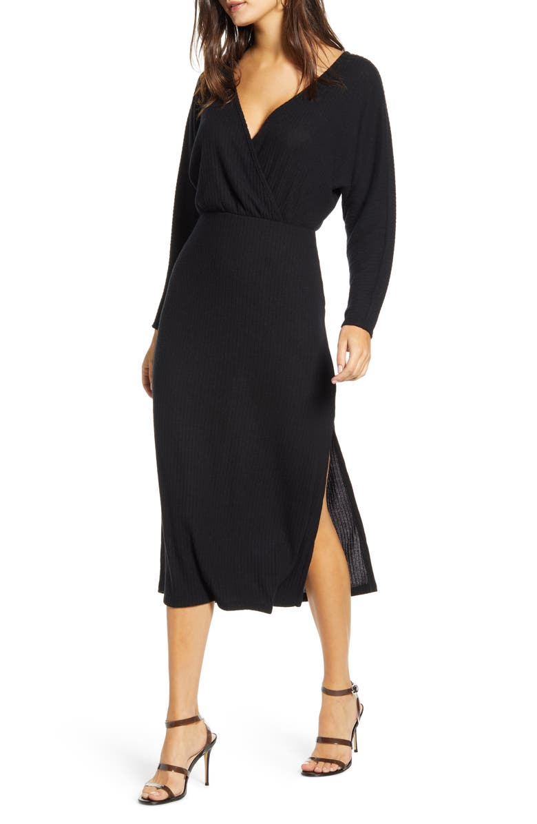 ALL IN FAVOR Cozy Ribbed Midi Dress, Main, color, BLACK