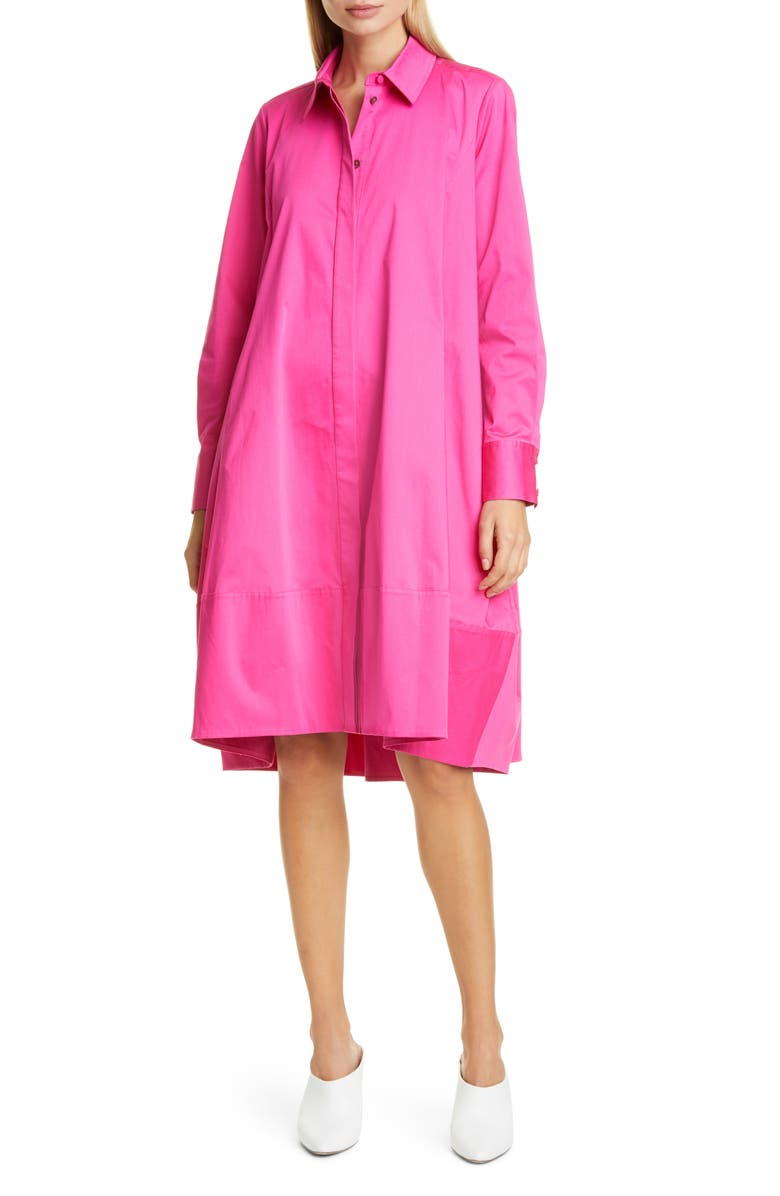 CO Bubble Hem Long Sleeve Shirtdress, Main, color, CERISE