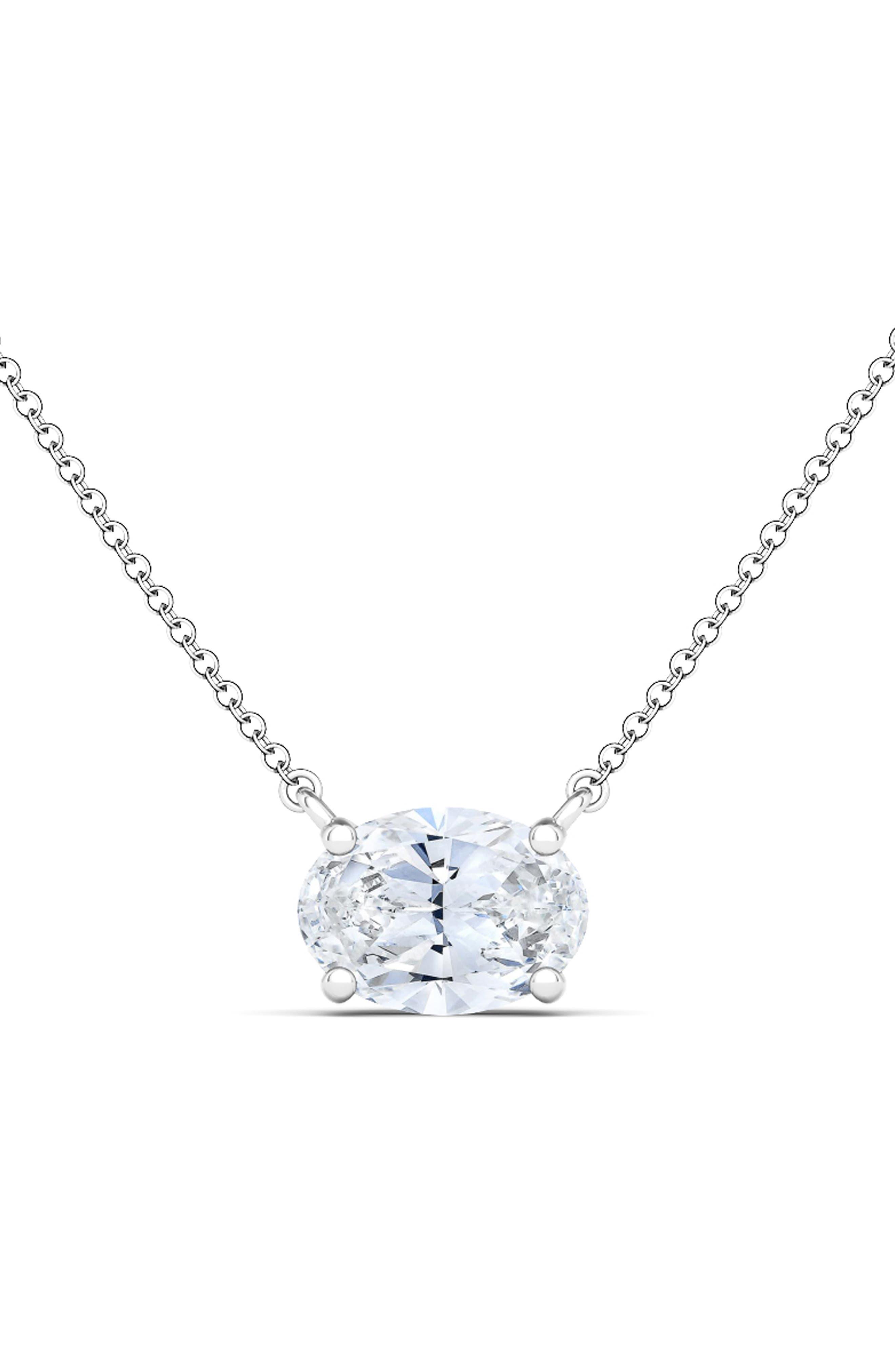 Oval Lab Grown Diamond Pendant Necklace