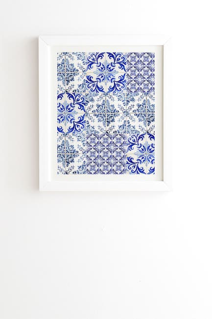 Image of Deny Designs Ingrid Beddoes Portuguese Azulejos White Framed Art