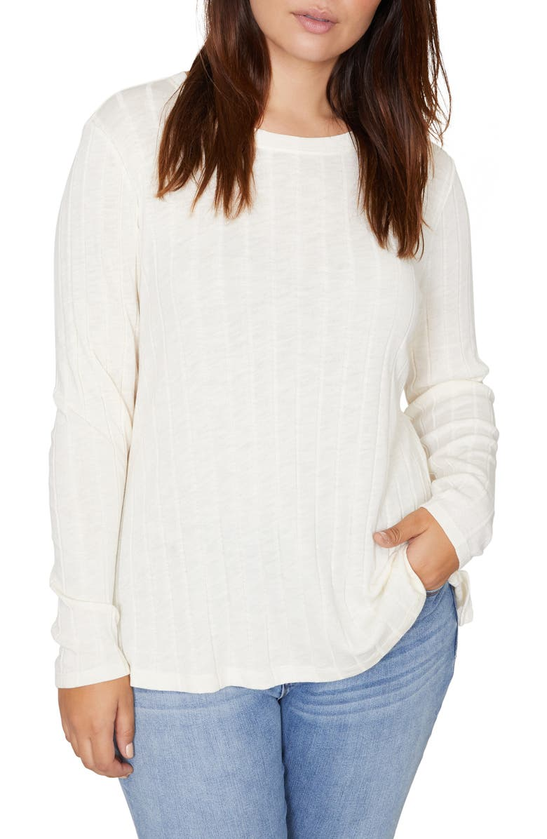 SANCTUARY Aimee Wide Ribbed Long Sleeve Cotton Blend Top, Main, color, MOONSTONE