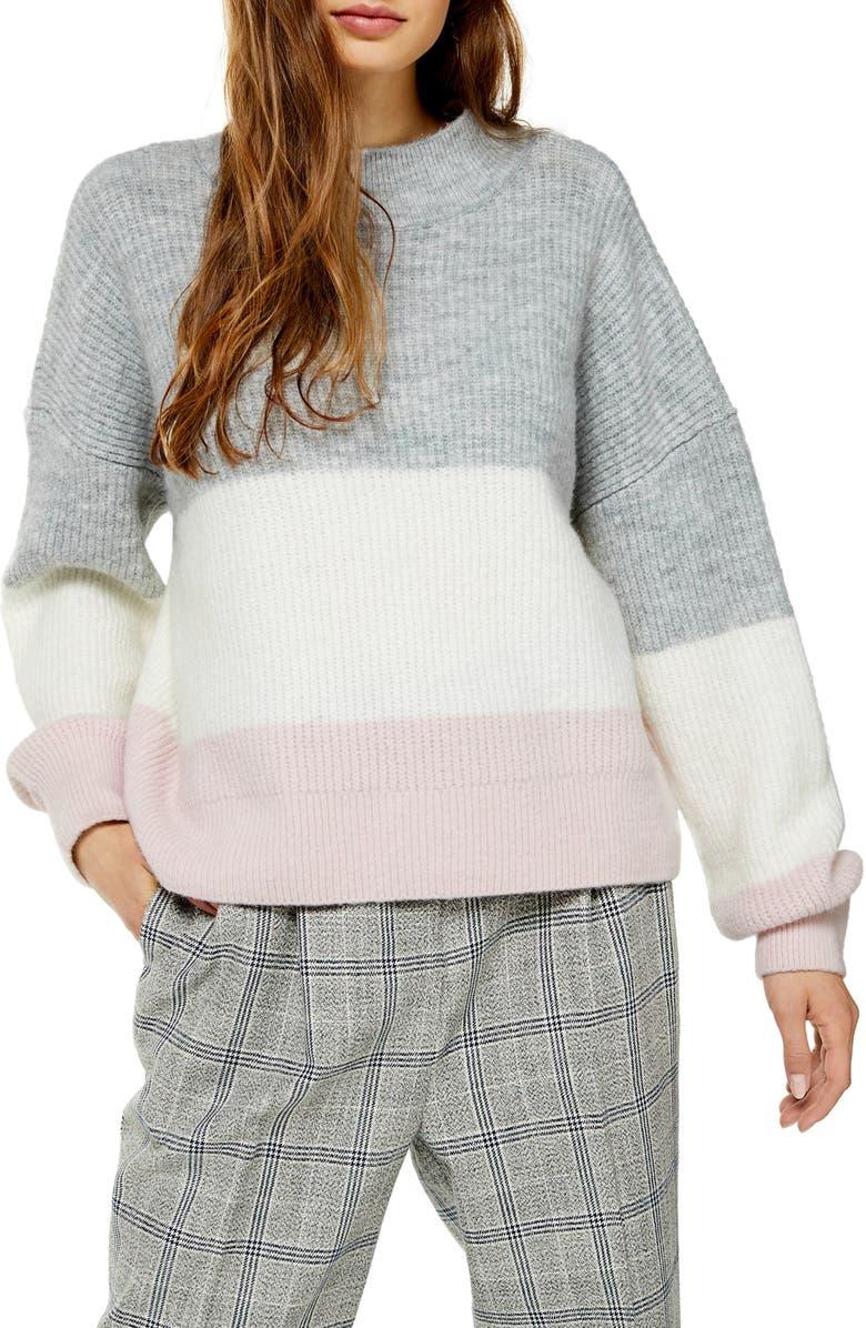 TOPSHOP Stripe Colorblock Sweater, Main, color, GREY MULTI