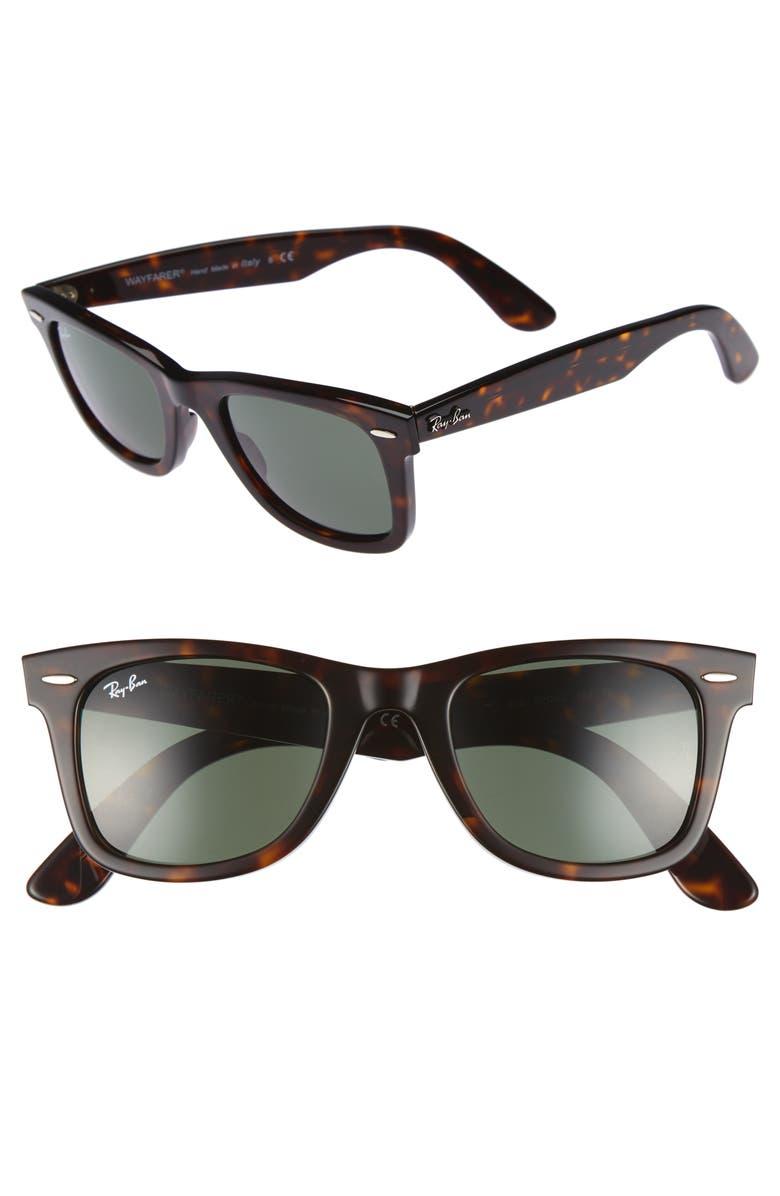 RAY-BAN 'Classic Wayfarer' 50mm Sunglasses, Main, color, DARK TORTOISE/ GREEN