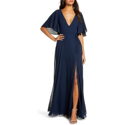 Jenny Yoo Ari Flutter Sleeve Faux Wrap Evening Gown, Blue
