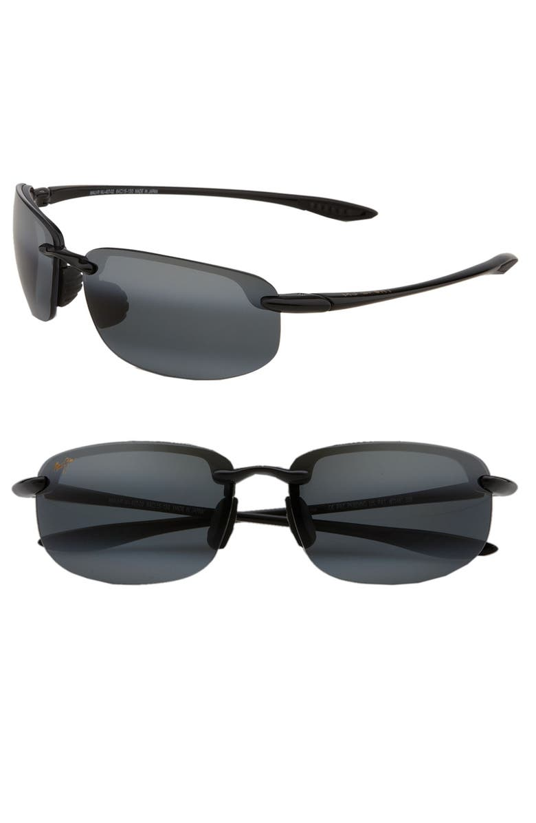MAUI JIM 'Ho'okipa - PolarizedPlus<sup>®</sup>2' 63mm Sunglasses, Main, color, BLACK