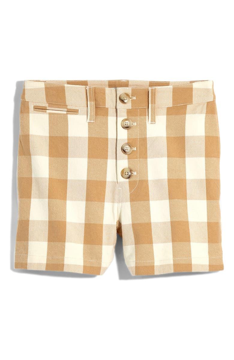 Madewell Emmett Gingham Button Front Shorts