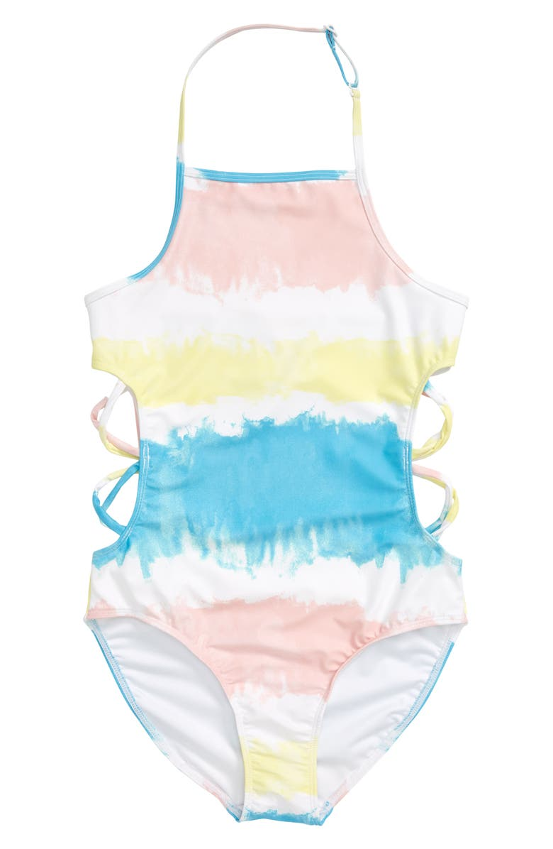 TUCKER + TATE Cutout One-Piece Swimsuit, Main, color, BLUE RIVER DIP DYE STRIPE