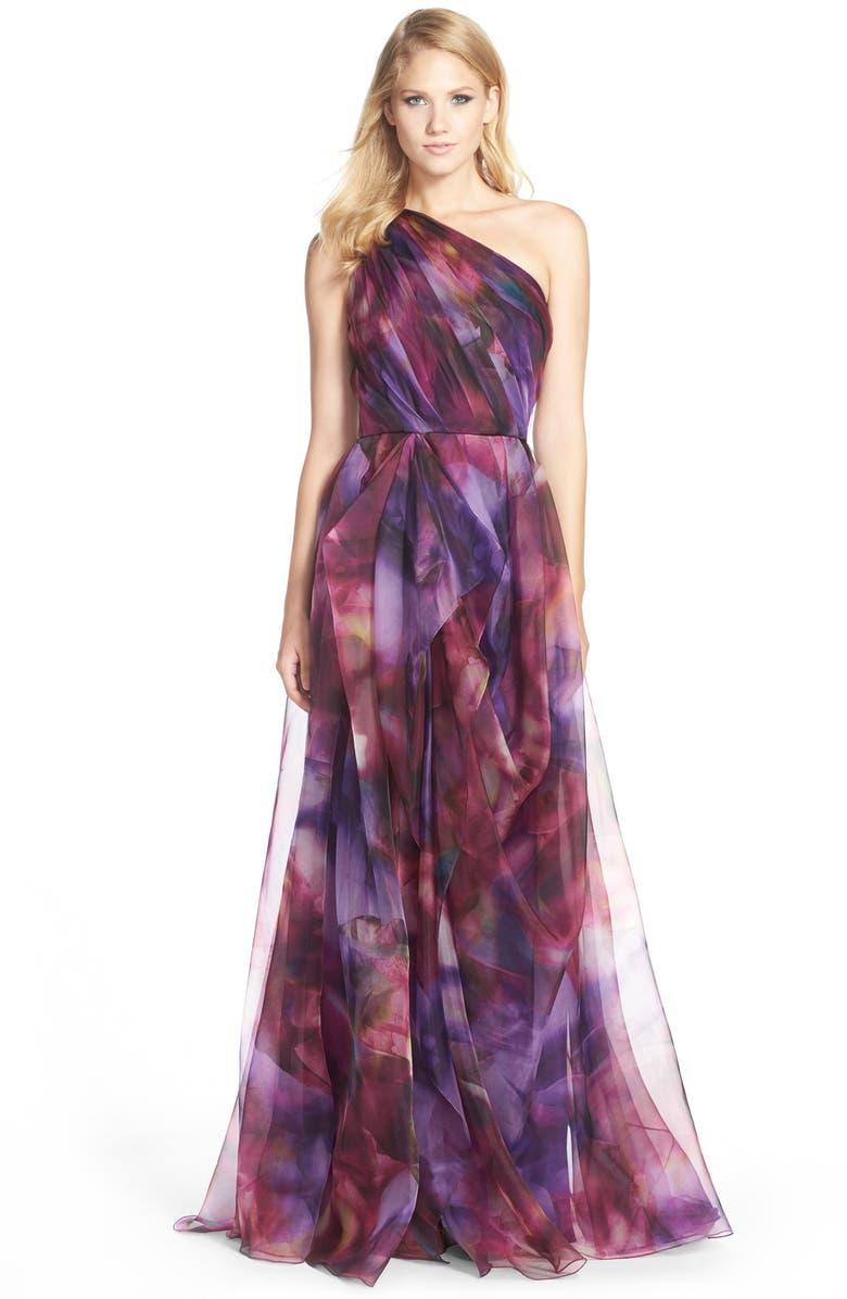 BADGLEY MISCHKA COLLECTION Badgley Mischka 'Floral Blur' Organza Gown, Main, color, 532