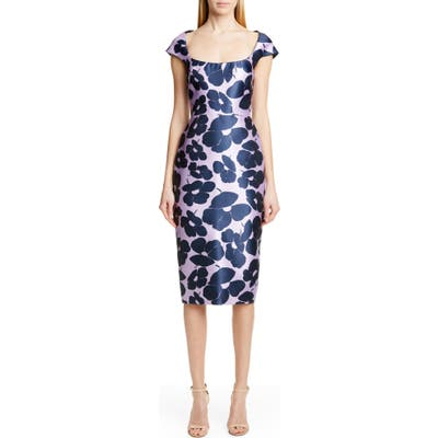 Lela Rose Floral Print Silk Blend Sheath Dress, Purple