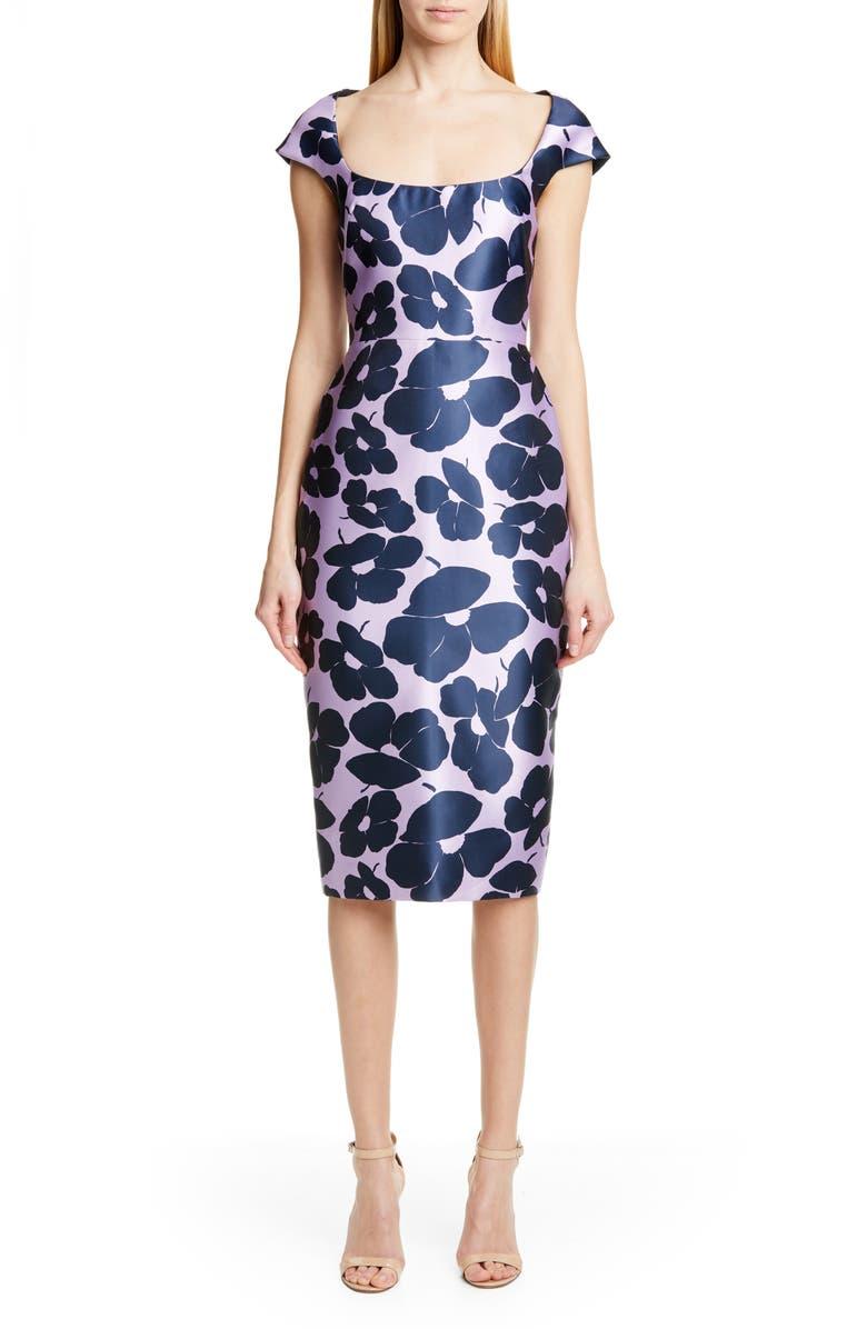 LELA ROSE Floral Print Silk Blend Sheath Dress, Main, color, LAVENDAR