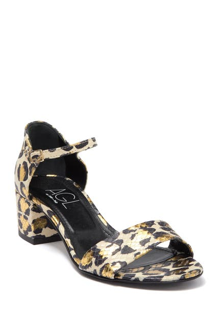 Image of AGL Metallic Leopard Print Leather Sandal