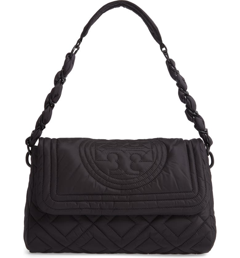 TORY BURCH Small Fleming Quilted Nylon Shoulder Bag, Main, color, BLACK