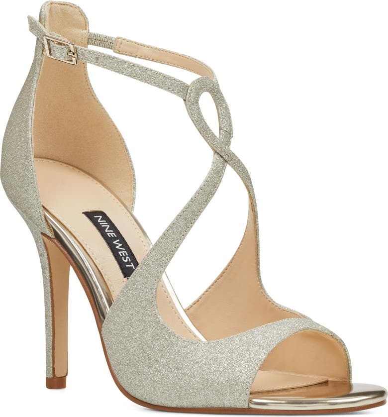 NINE WEST Giaa Strappy Sandal, Main, color, PLATINO LEATHER