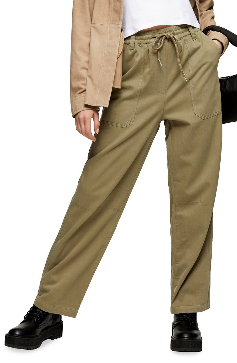 TOPSHOP Cory Slouch Trousers, Main, color, OLIVE