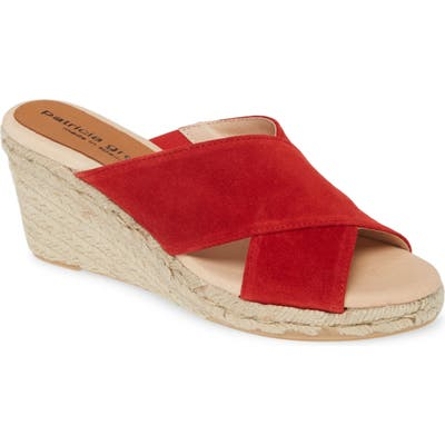 Patricia Green Annabelle Espadrille Wedge Slide Sandal, Red
