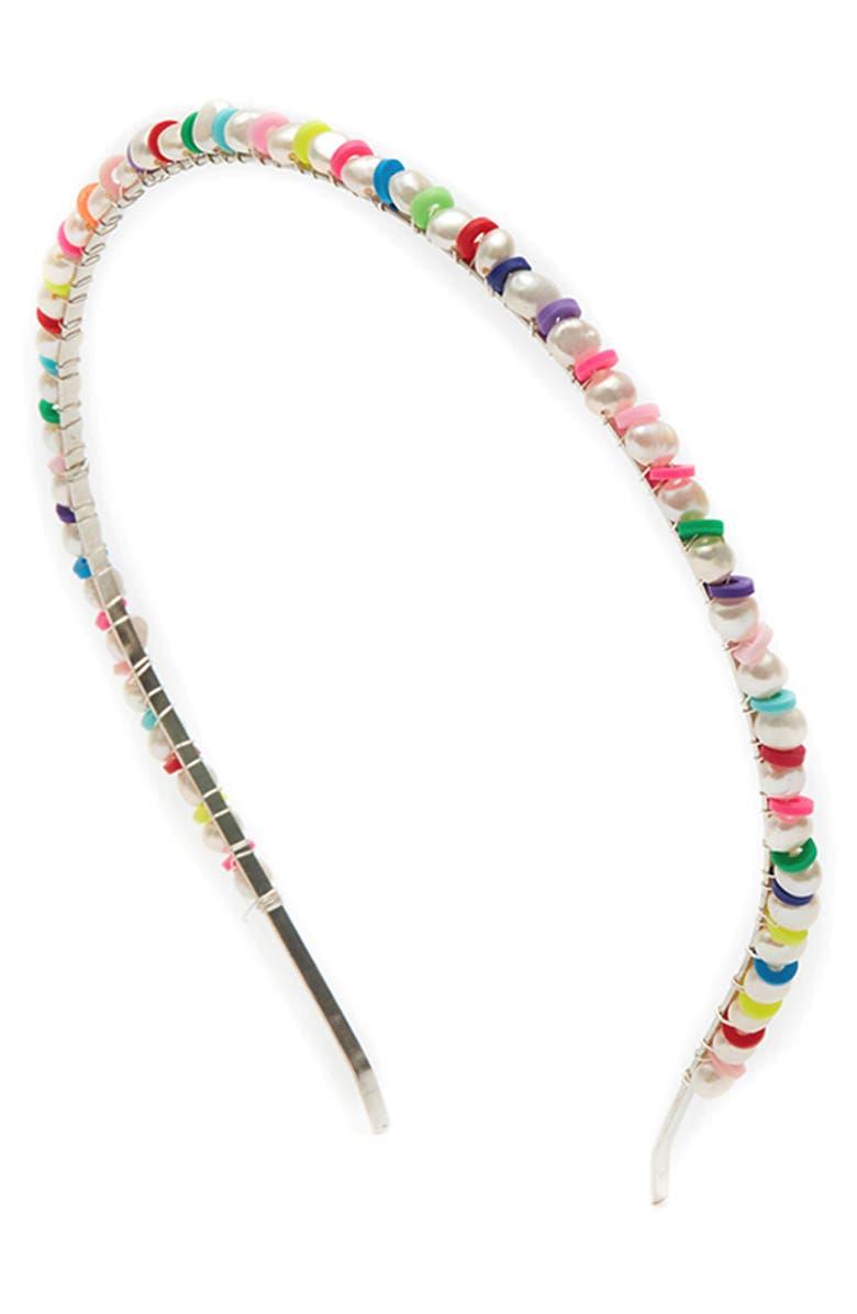 LELET NY Sand Dune Pearl Headband, Main, color, MULTI/ SILVER