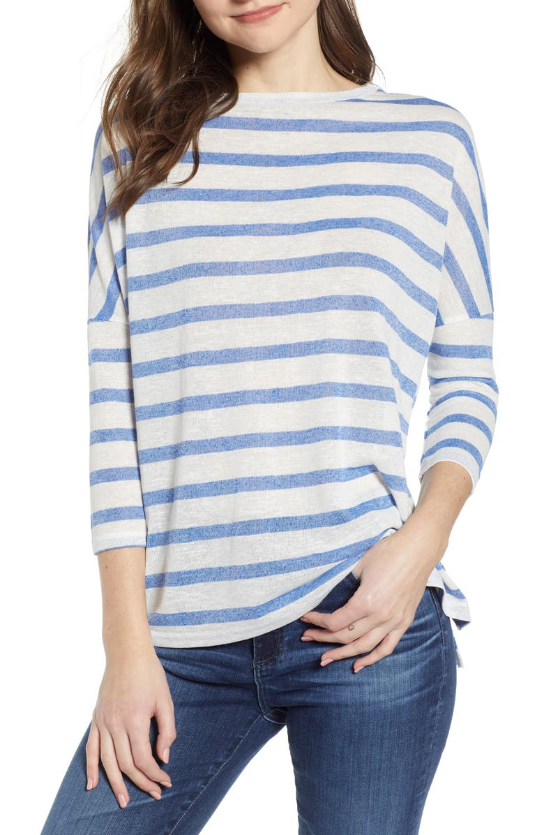 BISHOP + YOUNG Stripe Slub High/Low Tee, Main, color, BLUE STRIPE
