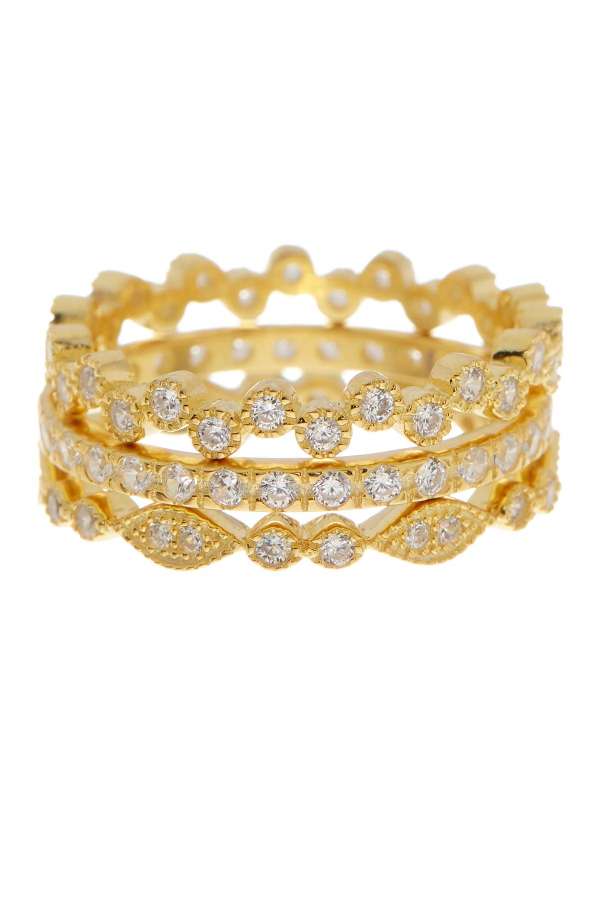 Image of Sterling Forever 14K Gold Vermeil Cubic Zirconia Stackable Ring Set