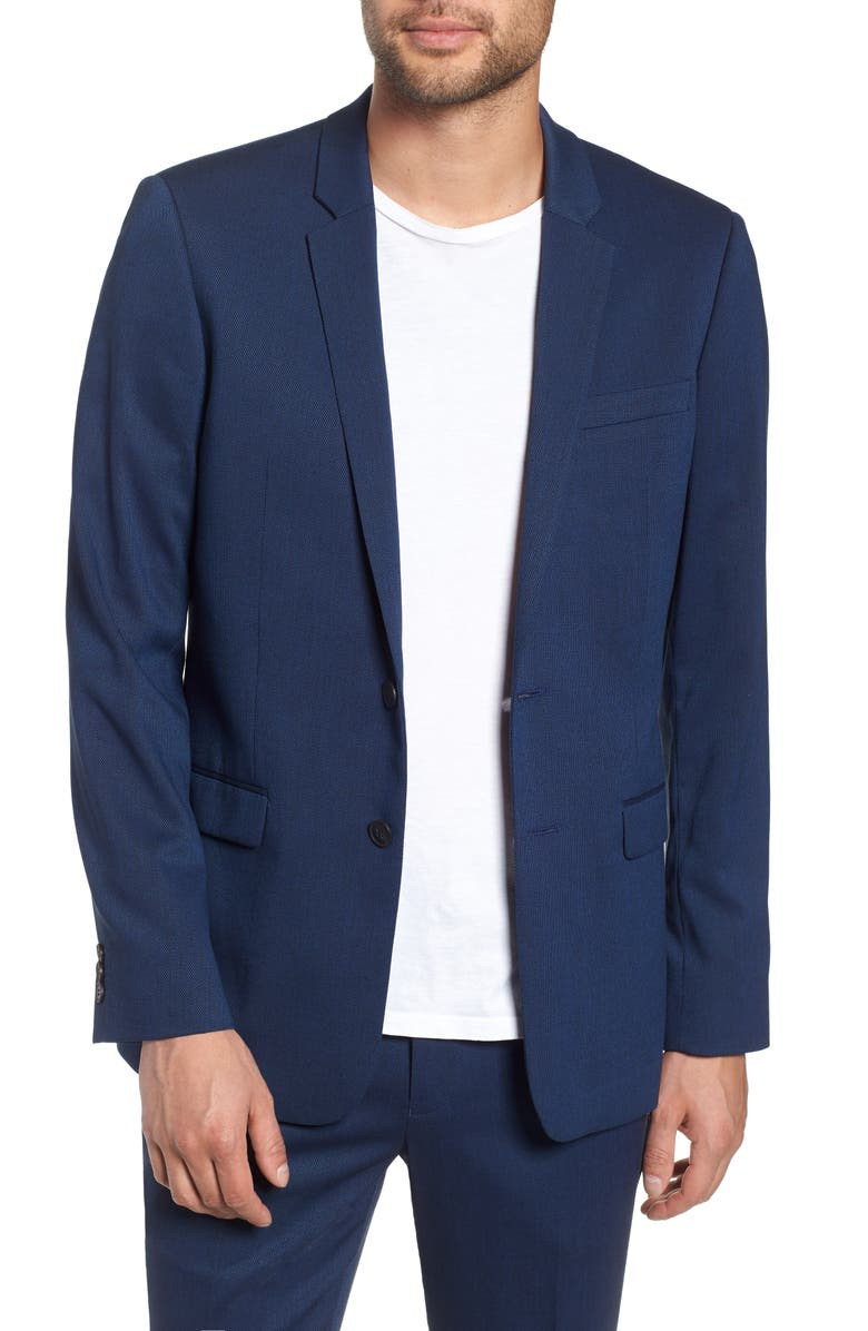 TOPMAN Skinny Fit Suit Jacket, Main, color, BLUE