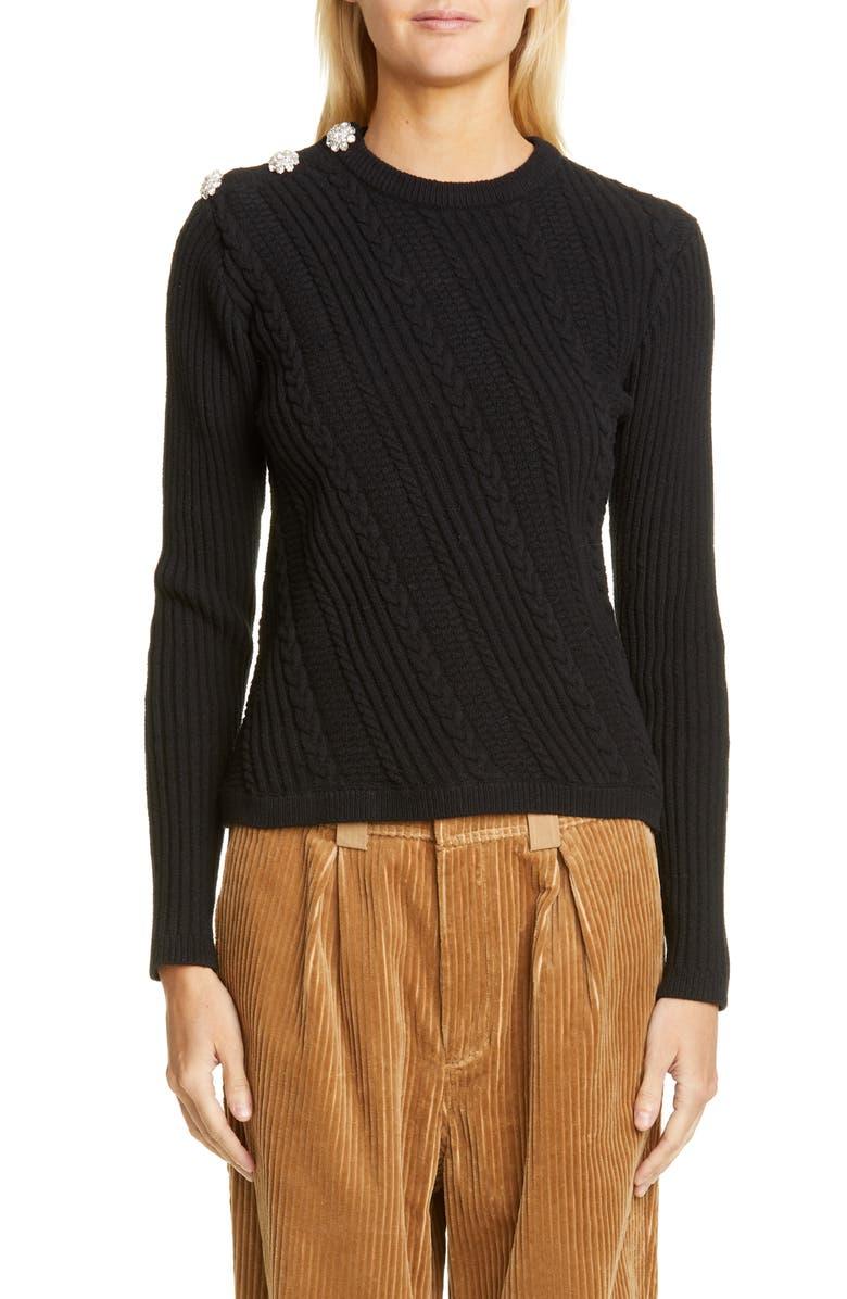 GANNI Cotton Blend Sweater, Main, color, BLACK
