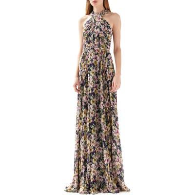 Ml Monique Lhuillier Floral Print Halter Neck Gown, Blue