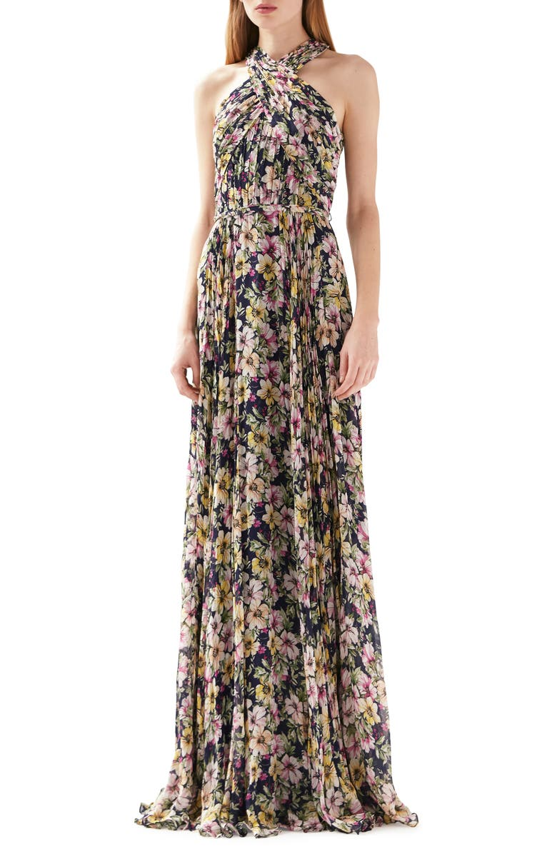 ML MONIQUE LHUILLIER Floral Print Halter Neck Gown, Main, color, 490