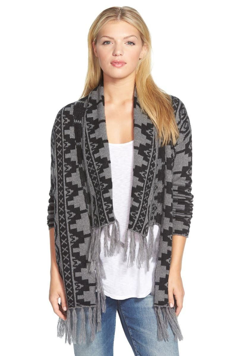 CASLON<SUP>®</SUP> Fringed Open Front Cardigan, Main, color, 021