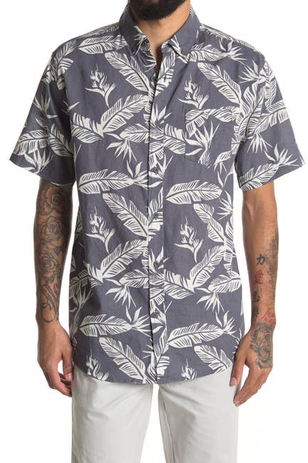 Image of Onia Jack Linen Blend Palm Print Slim Fit Shirt