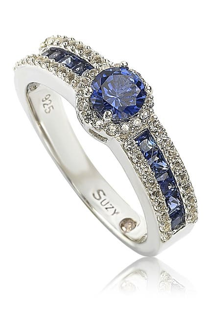 Image of Suzy Levian Sterling Silver Blue Sapphire & Diamond Accent Princess Cut Bridal Ring - 0.02 ctw