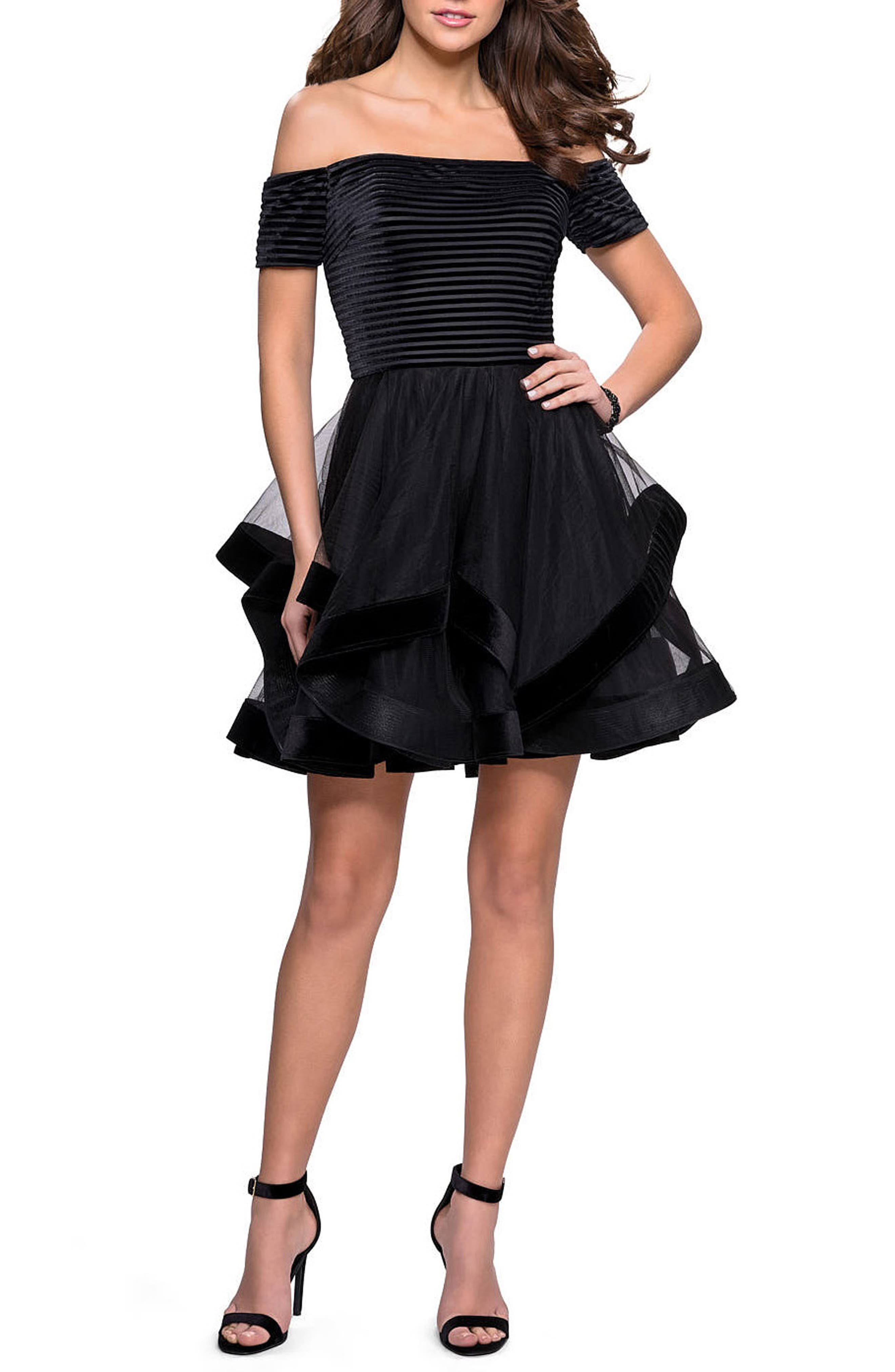 La Femme Off The Shoulder Velvet & Tulle Party Dress, Black