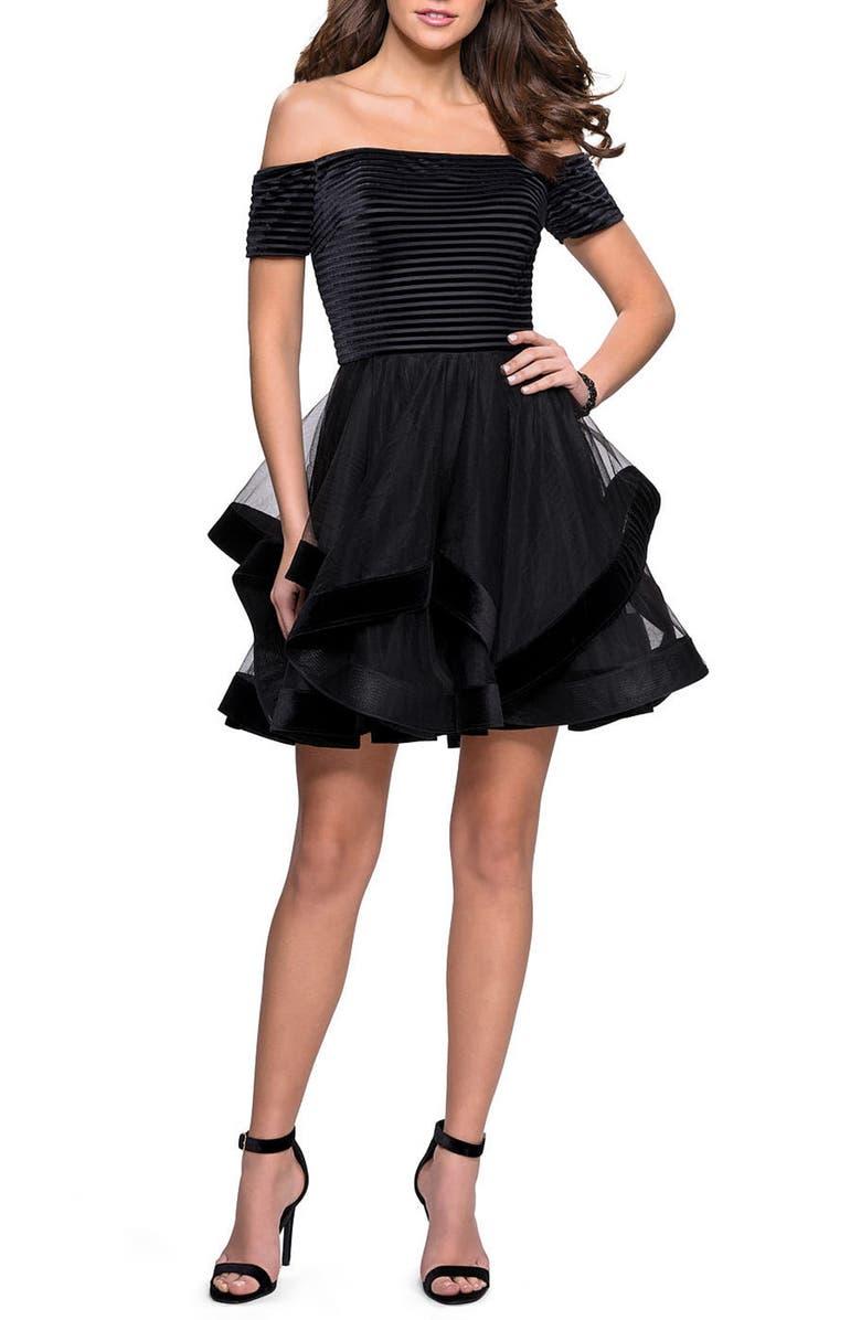 LA FEMME Off the Shoulder Velvet & Tulle Party Dress, Main, color, BLACK